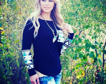 SALE Black Sweater with Aztec Print Sequins