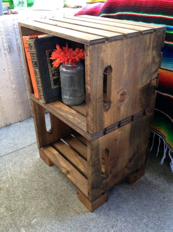 custom crate end tables by tandmcreation on etsy. Black Bedroom Furniture Sets. Home Design Ideas