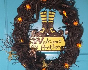 Halloween Wreath, Snake Wreath, Witch Wreath, Fall Door Decor, Halloween Decoration, Grapevine Wreath