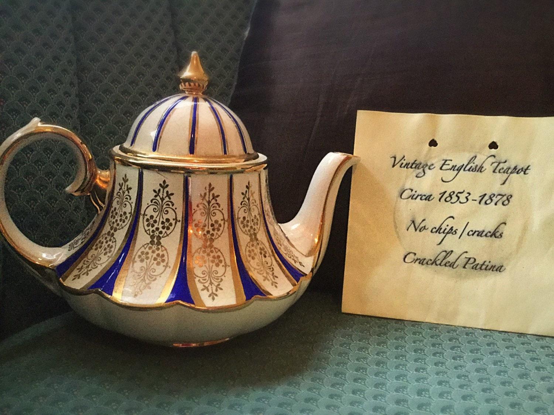 English Vintage Teapot Blue And Gold Teapot 1800s Teapot
