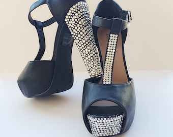 SALE! Custom Bling Crystal Rhinestone Platform Black Peep Toe High Heels