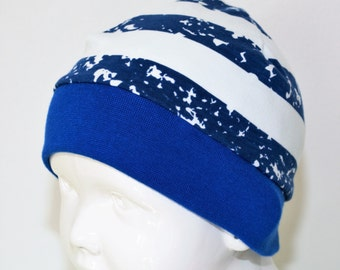 "Great handmade hat ""Spot Stripes blue"""