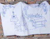 Hand embroidery, Vintage embroidery, Vintage, Hand Embroidered Vintage Blue Wall Tapestry , housewife cook dinner , Embroidered Chic