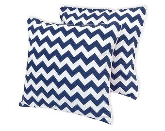 KraftKids pillow cover - dark blue Chevron