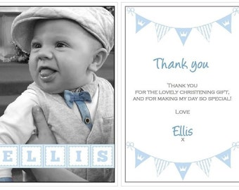 X8 A6 Christening Thank you cards with Envelope