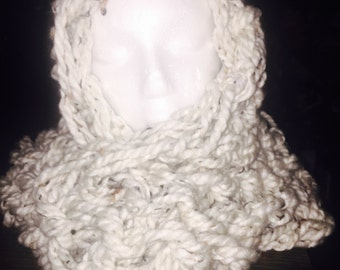 Fluffy loose knit infinity scarf