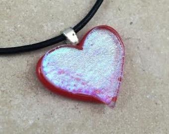 Heart Necklace, Blue Dichroic, Dichroic Pendant, Fused Glass Jewelry, Dichroic Glass Jewelry, Heart Dichroic Pendant - HEA117