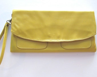 The Clutch Purse - Yellow leather