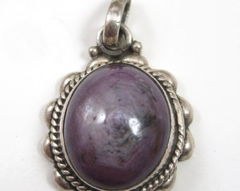 Purple Stormy Sapphire Cabochon Sterling Silver .925 Oval Pendent Unique Must See