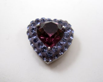 925 Sterling Silver Purple Heart Faux Gemstone Pendant Must See Unique Small