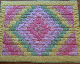 Sweet Baby Girl Quilt in Pinks, Greens and Yellow