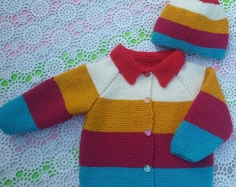 Entire jacket and bonnet joint knitted colourful hand size 12/18 months