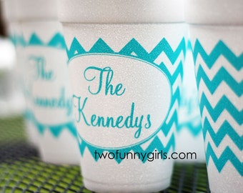Custom Styrofoam Cups with Chevron Wrap
