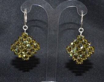 Earrings Swarovski diamond khaki 925 ab