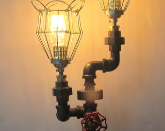 Table lamp - industrial style with two handlamps