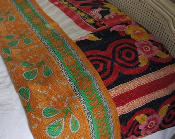 Vintage Indian Kantha Throw in green and organge