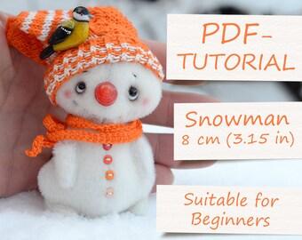 "Miniature Teddy Snowman Pattern. Teddy Pattern. Teddy bear snowman. Soft toy pattern. Teddy tutorial. Teddy bear tutorial (3.15""/8cm)"