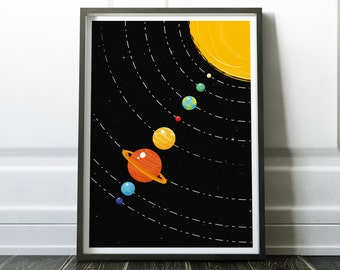 Solar System Print- Planets Print with Sun - Giclee Fine Art Poster Print, Retro Wall Art for Home Decor, Office Decor