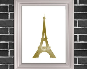 Gold Eiffel Tower Printable Art | Paris Gold Art | Wall Decor | Printable Home Wall Decor Art
