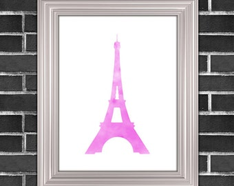 Pink Eiffel Tower Printable Art | Paris Pink Art | Wall Decor | Printable Home Wall Decor Art