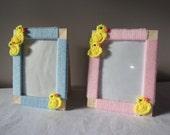 Crochet Ducks Photo Frame  5x7 Handmade Picture Frames Crochet Frame Wall Hangings Ducks Ornaments New Baby Christening Gift Decor