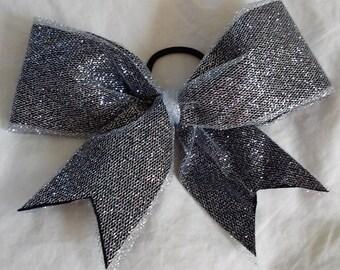 Silver/black glitter bow