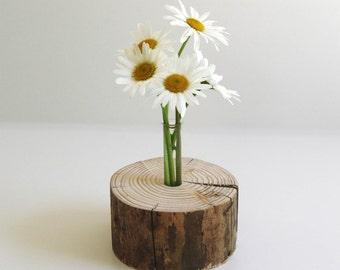 Unique, decorative wood vase - nature-Pur - round