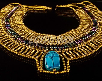 Amazing Egyptian Beaded Large Scarab Necklace Collar