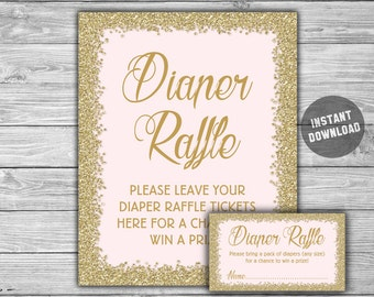 Pink - Gold - Baby Shower - Diaper Raffle Tickets & Diaper Raffle Sign - Printable - Instant Download Pink and Gold - Glitter - 093