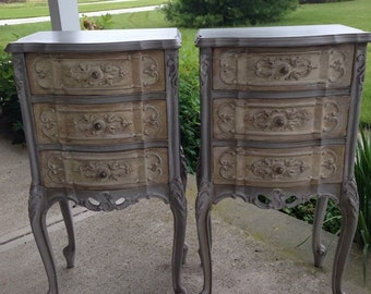Vintage French Night Stand/ End Table Hand Painted Annie Sloan French Linen