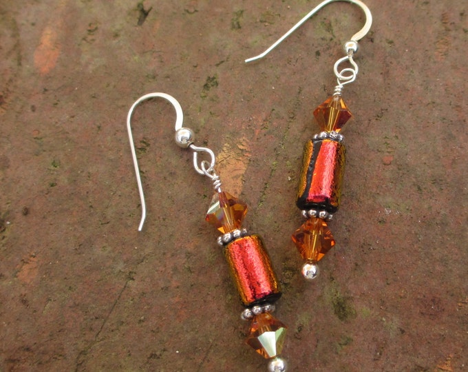 handmade orange red dichroic glass drop earrings with Swarovski crystal bicones on sterling silver ear wires