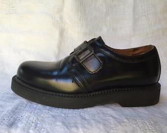 Vintage 90's GIORGIO BRUTINI Black Leather Buckle Oxford Shoes Men's 7 Women's 8