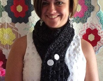 Button scarf, women's scarf, women's accessories, crocheted scarf
