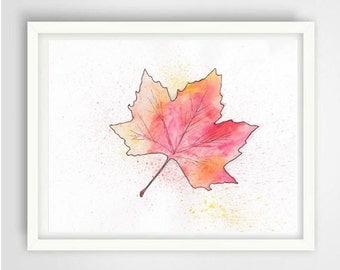 Fall leaf Watercolor Print, Watercolor Print, wall decor, autumn art print