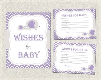 Purple Gray Elephant Theme Baby Shower   Wishes for Baby   Girls Baby Shower PDF Printable   Girl Activities   Instant Download BS-10