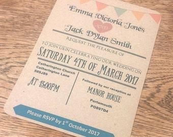 Vintage style bunting  wedding invitations