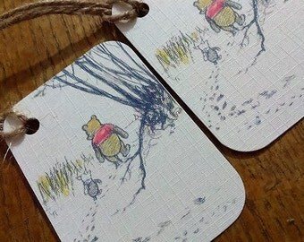 Winnie the Pooh Christmas tags, winter birthday tags, Disney Christmas tags.