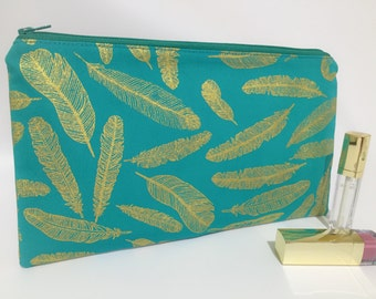 Zipper Pouch, Pencil Case,Make up storage,Teacher Gift, Bridesmaid gift, Nappy Bag, Bag Organiser,Cosmetic bag, Feather pouch,Metallic pouch