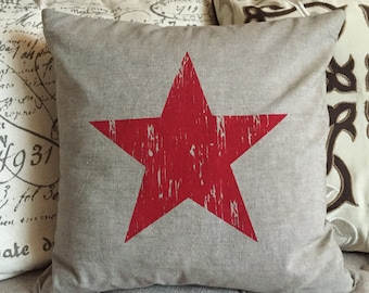 Distressed Lone Star Screen Printed Pillow