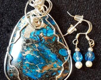 beautiful bright blue jasper with free earrings