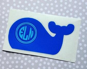 Whale Monogram Decal