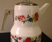 Vintage 1960's Enamel Floral Stovetop Coffee Percolator/Pot