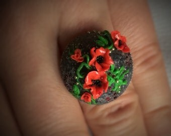 Polymer clay romantic ring