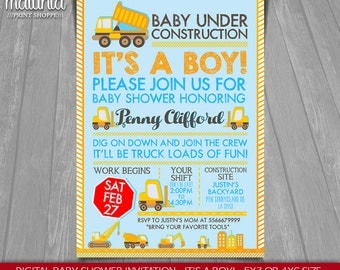 Construction Baby Shower Invitation - Baby Under Construction Printed or Printable Invitation - Baby Shower Dump Truck Party - Boy (COIN01)