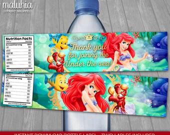 Disney Little Mermaid Water Bottle Label - INSTANT DOWNLOAD - Disney Princess Ariel Birthday Party Printable Label - Little Mermaid labels