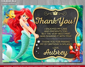 Little Mermaid thank you card - Disney Princess Ariel card - The Little Mermaid Birthday Greeting Card - Disney Princess Ariel Party