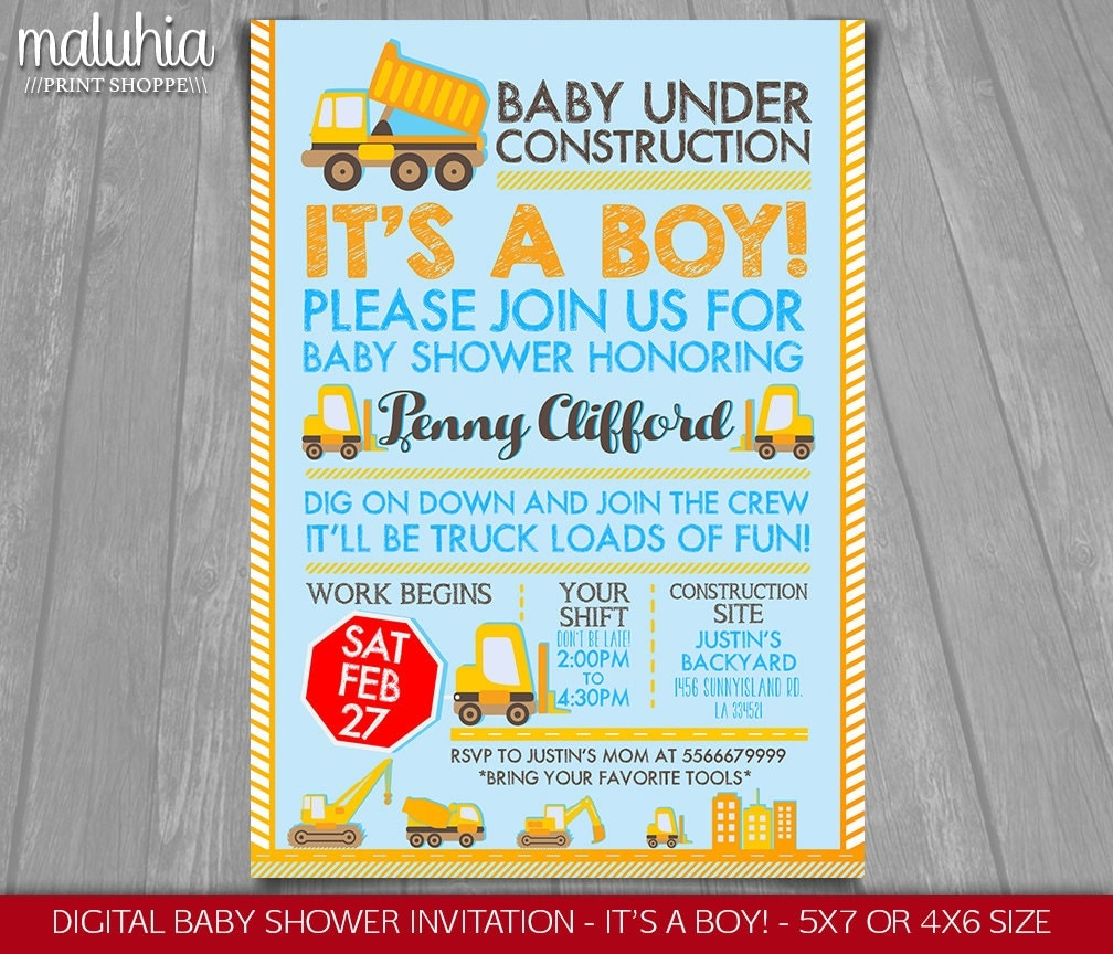 construction baby shower invitation baby under construction