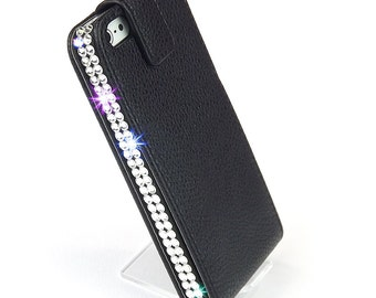 Bling iPhone 5 leather case real Swarovski