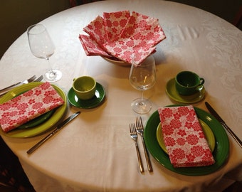 Red Flowered Cloth Napkins/Dinner Napkins