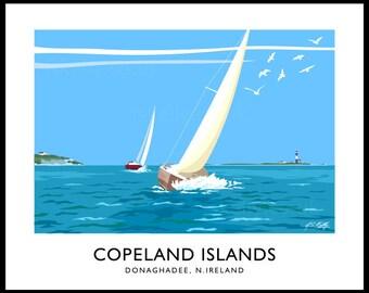 Copeland Islands - vintage style railway travel poster art of Ireland